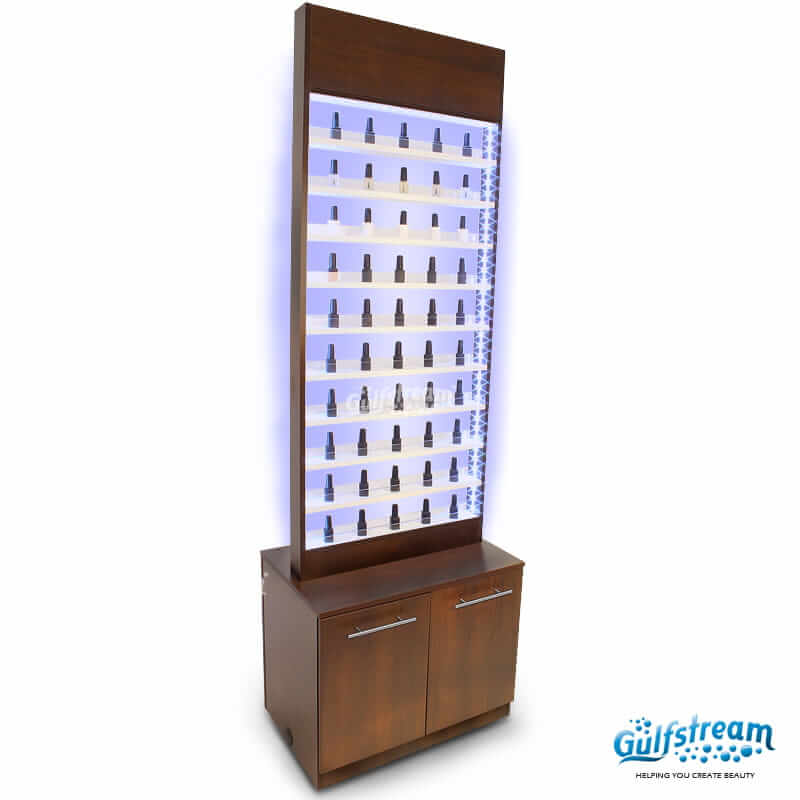 Paris Nail Polish Rack With Cabinet and LED Light | Gulfstream Inc.