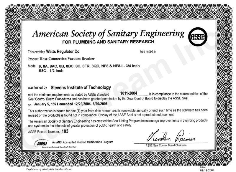 Watts Backflow Certificate | Gulfstream Inc.